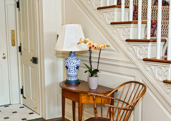 Yellow-Orchid-on-Table-in-Foyer