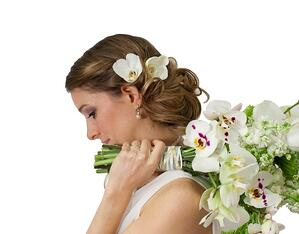 bride with orchids