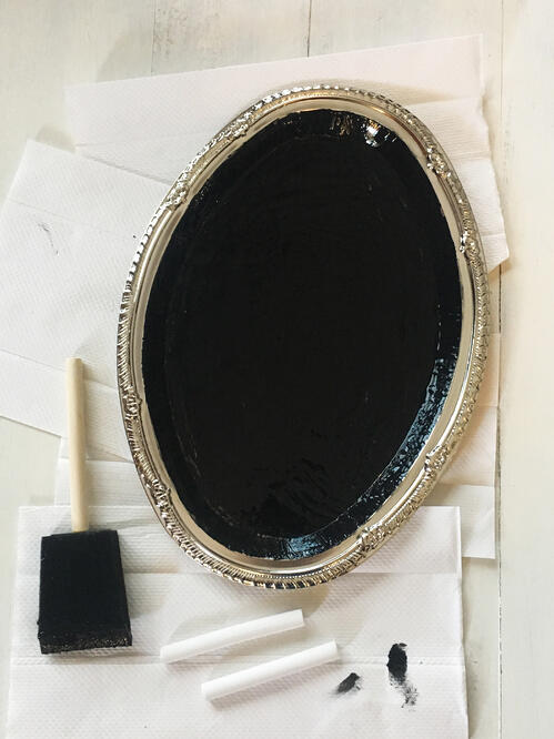diy chalkboard tray let dry