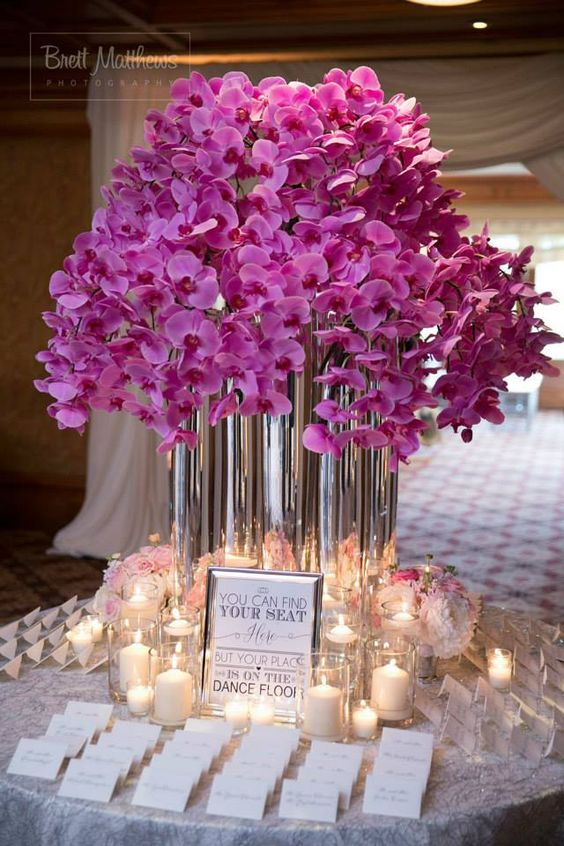 wedding floral decor metallics